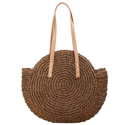 Onwaymall Bolso redondo de paja para mujer, estilo hobos y bolsos de hombro, bolso grande de cuero de playa de verano (2 unidades, marrón)