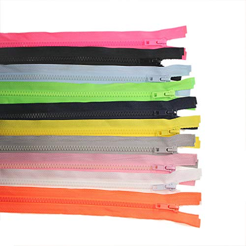 Leekayer 10PCS 28 Inch (71cm) Separating Zippers for Sewing Nylon Zipper Mixed Plastic Zippers Bulk 10 Colors (Each Color 1 pc)