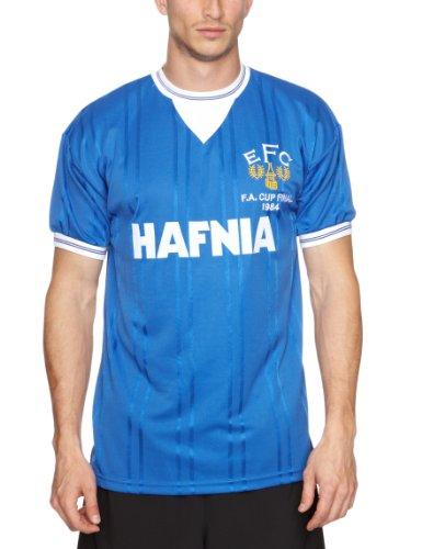 Score Draw Official Retro Herren Everton 1984FA Cup Final Shirt L Royal Blue (bleu Marine)