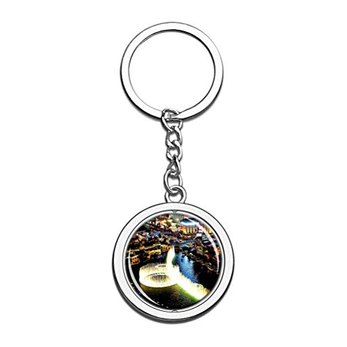 Usa America Fountains Of Bellagio Las Vegas Keychain Key Chain Souvenir Spin Crystal Metal Stainless Steel Chain City Travel Gift