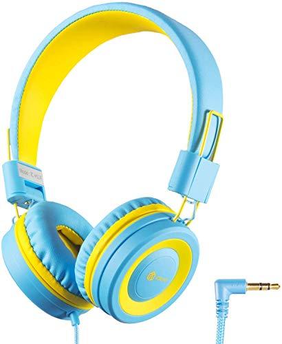 Kinderhoofdtelefoon, kabel hoofdtelefoon voor kinderen, verstelbare hoofdband, stereo geluid, opvouwbare, ontwarde draad, 3,5 mm Aux Jack, 94dB volume Limited, kinderhoofdtelefoon op oor kids blauw/geel.