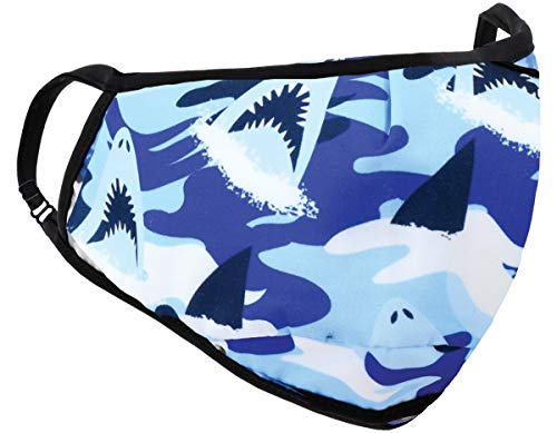 iscream Child's Sharks Ahoy! Double Layer Adjustable Ear Strap Face Covering with Pocket