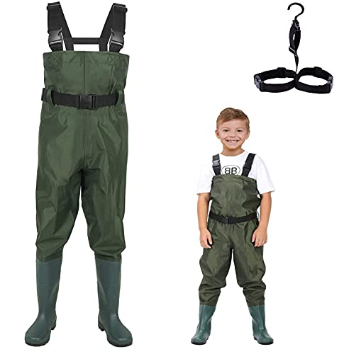 LANGXUN Hip Waders for Kids, Lightweight and Breathable PVC Fishing Waders for Children, Waterproof Bootfoot Waders for Boy and Girl, Army Green Chest Waders for Women