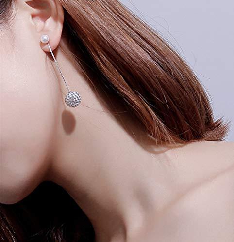 Pendientes De Gota Para Mujer,Moda Borla De Perlas De Imitación Bola De Cristal Larga Pendientes Colgantes Hipoalergénicos Ligeros Pendientes De Joyería Pendientes Para Mujeres Fiesta De Niñas B
