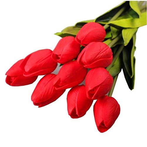 SuperglockT Tulpen Kunstblumen aus Latex Real Touch künstliche Tulpen Blumen wie echt Brautstrauß Bouquets für Hochzeit Party Garten Hotel Zimmer Deko (Rot, 10 Stück)