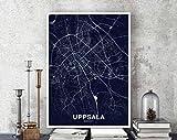MG global Uppsala Sweden Map Poster Color Hometown City