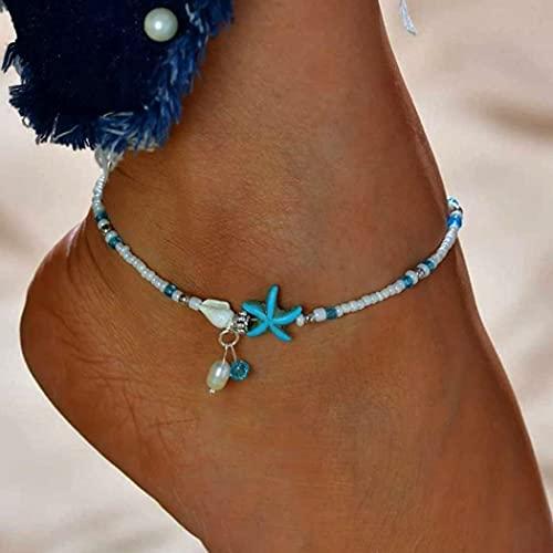 Tobillera con cuentas de estrella de mar azul Handcess Boho para mujeres y niñas