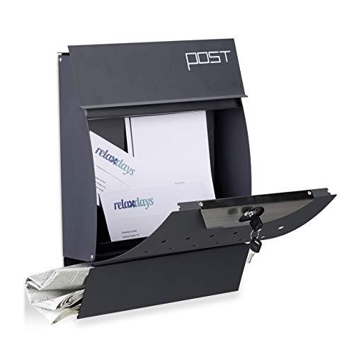 Relaxdays Design Briefkasten mit Zeitungsfach, Pulverbeschichtet, HxBxT: 37,5 x 35 x 10,5 cm, Wandbriefkasten, anthrazit