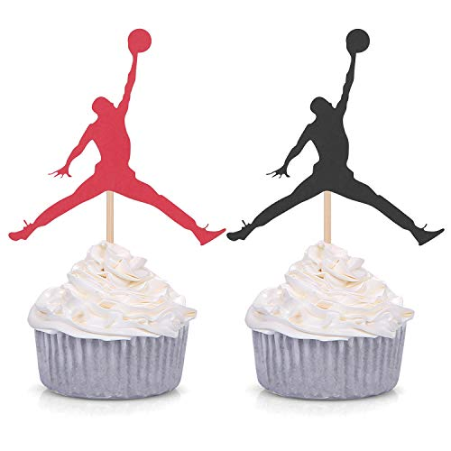 24 Counts Jumpman Cupcake Toppers Basketball Theme Birthday Party Baby Shower Decorations - 12 black and 12 Red