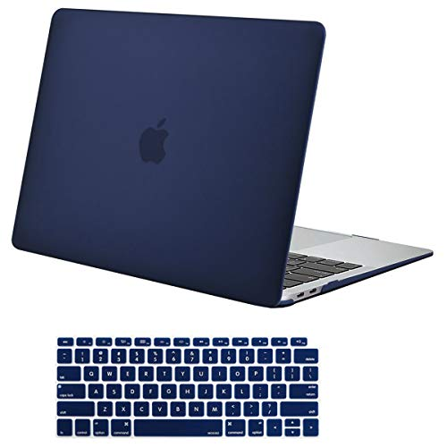 MOSISO Compatible with MacBook Air 13 inch Case 2020 2019 2018 Release A2337 M1 A2179 A1932 Retina Display with Touch ID, Protective Plastic Hard Shell Case & Keyboard Cover Skin, Navy Blue