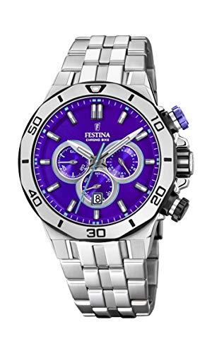 Festina Unisex Erwachsene Chronograph Quarz Uhr mit Edelstahl Armband F20448/D