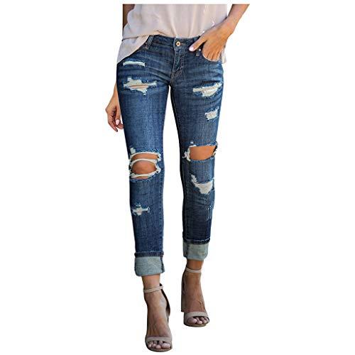 Ansenesna Jeans Damen Mit Löchern Vintage Elegant Hosen Frauen Zerissene Denim Hosen (Blau,L)