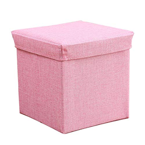 Ottoman Wddwarmhome Household Tabouret de Rangement Pliable en Forme de boîte de Rangement pour Pouf (Couleur : Pink)