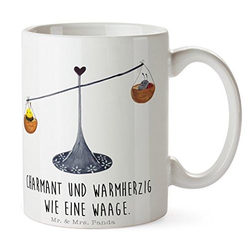 Mr. & Mrs. Panda Kaffeetasse, Büro, Tasse Sternzeichen Waage mit Spruch - Farbe Weiß