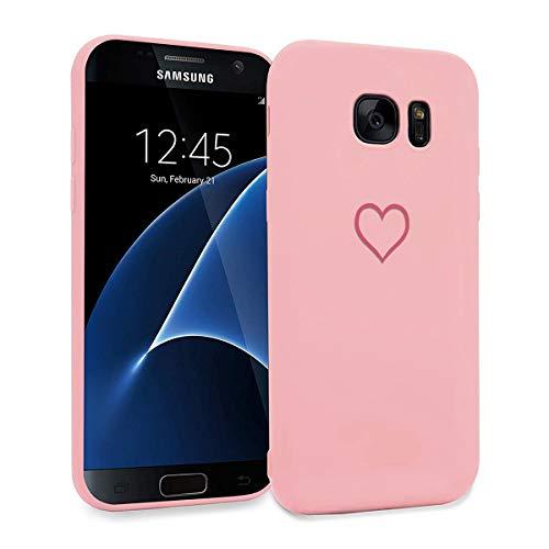 ZhuoFan Funda Samsung Galaxy S7, Cárcasa Silicona Rosa con Dibujos Diseño Suave Gel TPU Antigolpes de Protector Piel Case Cover Bumper Fundas para Movil Samsung GalaxyS7, Amor Rosa