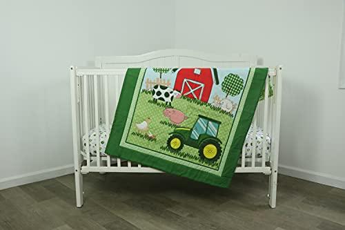 Tractor Crib Bedding Nursery Set: Barn  Tractor and Farm Animals
