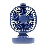 Ventilator Tragbares Camping Schnurloses persönliches Tischventilator Leistungsstarke einstellbare Kühlung Innen-Außenventilator Home Office (Blau)