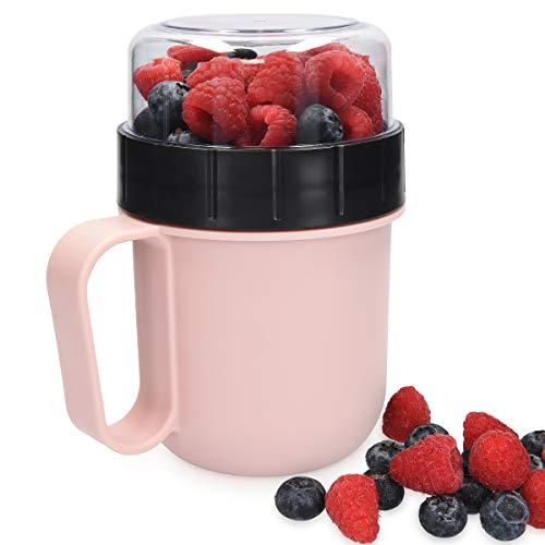 Navaris Tazza Porta Colazione - Bicchiere Contenitore Portaliquidi Yogurt caffè Frutta Cereali Snack - Mug Portapranzo da Asporto Viaggio o Ufficio