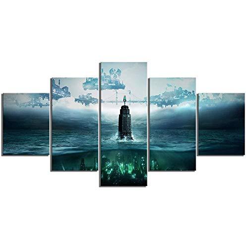 ADGUH Drucke auf Leinwand5 leinwandbilder 5 stück hd Fantasie Kunst Steampunk Stil Bilder Bioshock die Sammlung Videospiel Poster leinwand malerei für Wand-dekor drucke auf leinwand