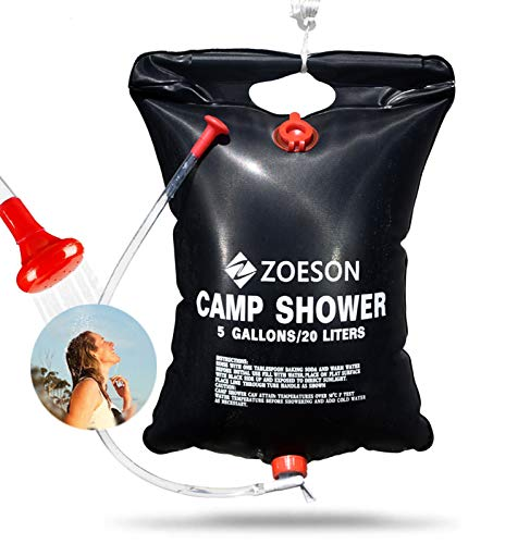 ZOESON 20L/5 Gallon PVC Solar-Heated Lightweight & Portable Outdoor Camping Shower Bag for Hiking & Camping