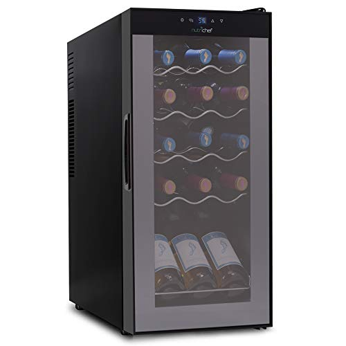 15 Bottle Wine Cooler Refrigerator - White & Red Wine Fridge Chiller Countertop Wine Cooler - Freestanding Compact Mini Wine Fridge 15 Bottle Capacity, Digital Control, Glass Door - NutriChef PKCWC150