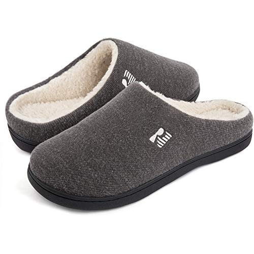 RockDove Men's Original Two-Tone Memory Foam Slipper, Size 10/11 UK Men, Grey and Natural