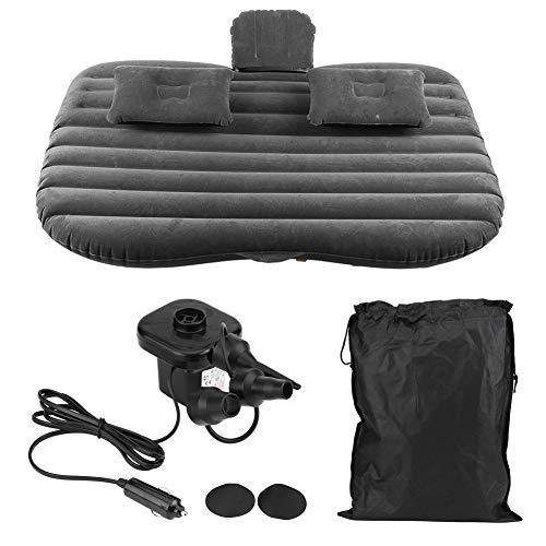 Colchón hinchable para coche, multifunción, cama hinchable con 2 almohadas + bomba + bolsa, colchón hinchable de viaje para camping, festivales, viajes de surf, viajes y aventuras, color negro
