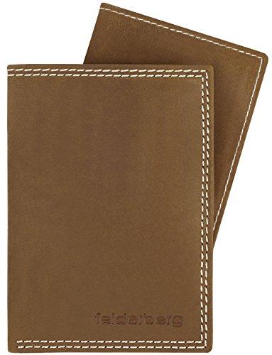 Ledergeldbörse mit viel Stauraum aus geöltem Hunterleder mit herausnehmbarem Kartenfach, Modell 3733, Farbe:Tobacco