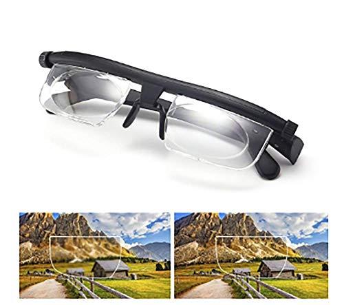 Einstellbare Fokus-Lesebrille Vergrößerungsbrille -6Dto + 3D-Dioptrien Korrekturlinsen mit Variabler Linse Computer-Lesebrille - Einstellbare Brille - Variable Fokusbrille - Für Männer Frauen, manue