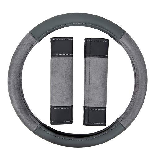 Antibacterial Microban-Infused Univeral Car Steering Wheel Cover in Beige