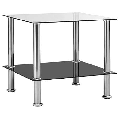vidaXL Beistelltisch Couchtisch Wohnzimmertisch Kaffeetisch Sofatisch Teetisch Tisch Glastisch Transparent 45x50x45cm Hartglas Edelstahl