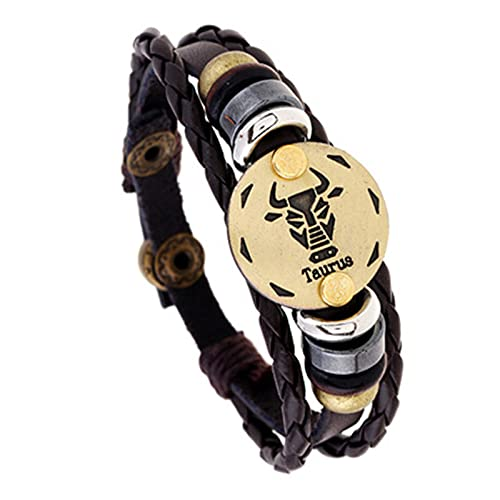ODKKAYA 12 Constelación pulsera de cuero retro tejida ajustable pulsera de cuero de vaca para hombres mujeres parejas, talla única, Cuero, vidrio aventurina,