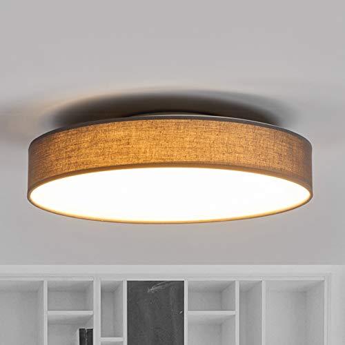 Lindby LED Deckenlampe 'Saira' (Modern) in Alu aus Textil u.a. für Wohnzimmer & Esszimmer (1 flammig, A+, inkl. Leuchtmittel) - Deckenleuchte, Lampe, Wohnzimmerlampe