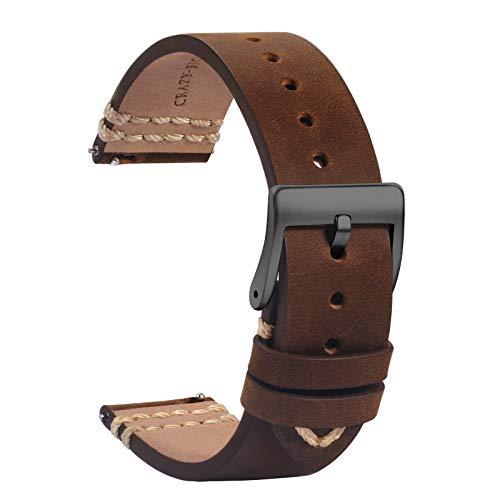 TStrap Leder Uhrenarmband 20mm - Weich Braun Quick Release Uhrenarmbänder Ersatz - Sport Uhrenarmband für Herren Damen - Smartwatches Armband mit Schwarz Schließe - 18mm 19mm 21mm 22mm