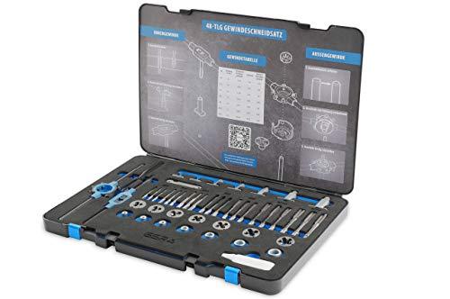 GSR assortimento maschi da filettatura a mano -serie 48 utensili per filettare M3-M12 HSS, con guide per filettatura a mano e filettatura, set di maschi per filettatura HSS