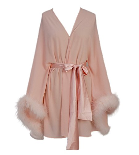 Feather Sleeve Short Bridal Robe with Sash Short Sexy Night, Blush Pink, Size F