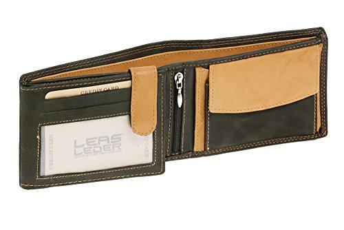 Portemonnee voor heren en dames horizontaal formaat LEAS MCL, echt leer, zwart-beige - ''LEAS Arrow-Line''