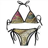 Personajes de Dibujos Animados Flor Cocodrilo Ilustración Bikini Set Traje de baño de Playa Bikini de Dos Piezas Traje de baño para Mujeres Niñas Ropa de Playa Negro