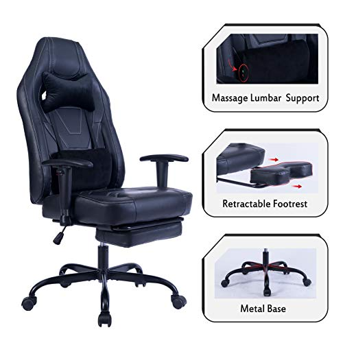 Blue Whale Gaming Chair with Adjustable Massage Lumbar Pillow,Retractable Footrest and Headrest...