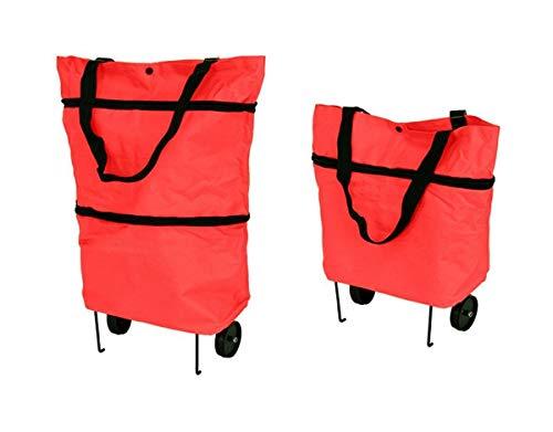 Hukitech - Carro de la compra con ruedas y soportes (plegable, resistente al agua), color rojo