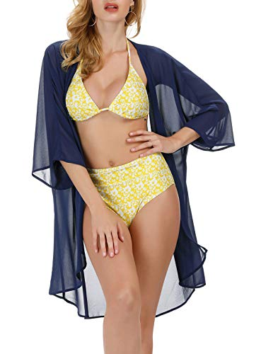 Kate Kasin Women's Beach Cover up Swimsuit Kimono Cardigan Navy Blue 2XL