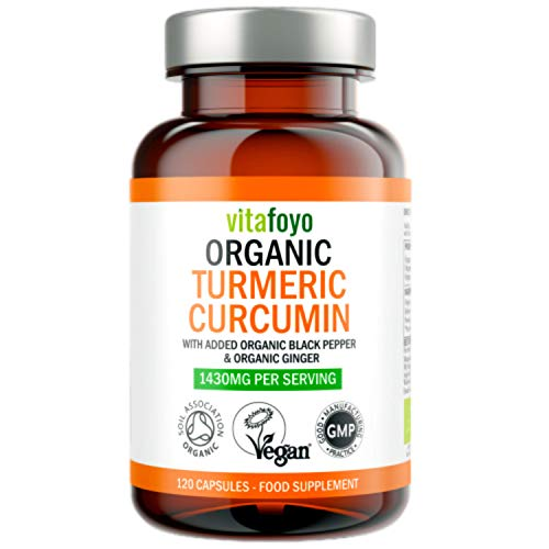 Organic Turmeric Curcumin 1430mg with Black Pepper & Ginger - 120 Vegan Turmeric Capsules - High Strength - Certified Organic by Soil Association & Vegan Society Approved - Made in The UK