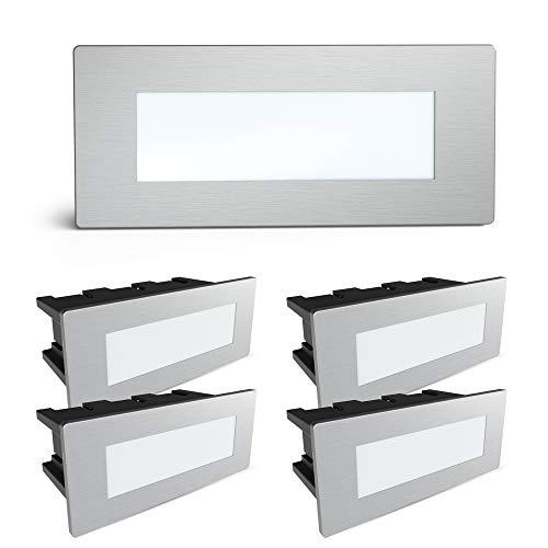 SSC-LUXon® Piko-S - Juego de 5 lámparas LED de pared para exteriores (acero inoxidable cepillado, IP65, 230 V, 1,5 W, luz blanca neutra) 🔥