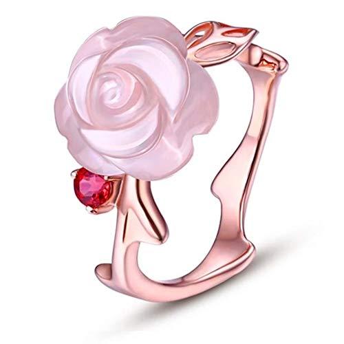 Ubestlove Ladies Wedding Rings 18Ct Gold Personalised Gifts For Women Flower Women Ring 7Ct R 1/2