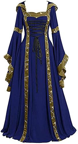 Babaseal Disfraz gtico medieval renacentista para Halloween, vestido retro de princesa, Azul / Patchwork, X-Large