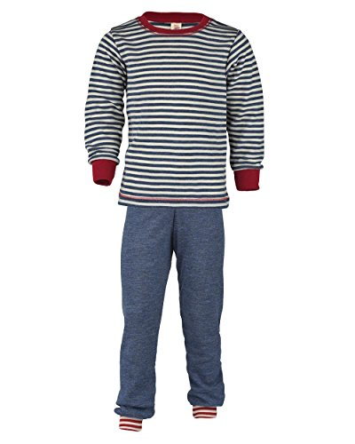Engel Natur, Schlafanzug für Mädchen und Jungen, 100% Wolle (kbT) (116, BLau Ringel/Blau)