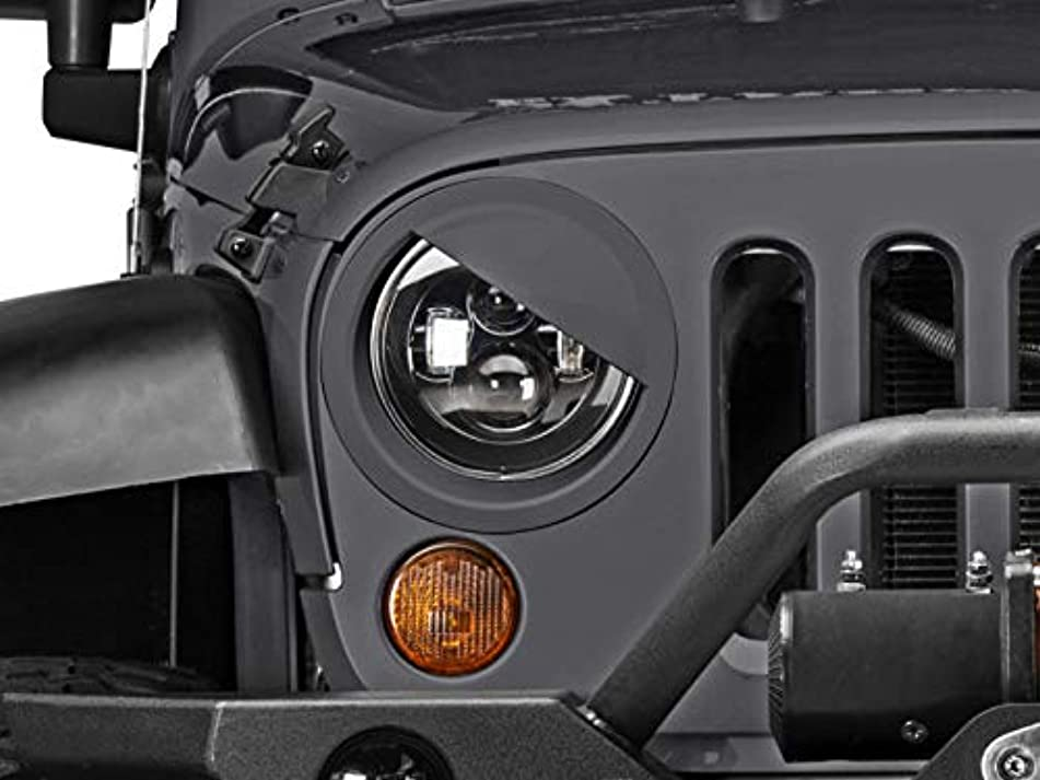 Redrock 4x4 Pre-Painted Angry Eyes Headlight Conversion - Granite Crystal Metallic - for Jeep Wrangler JK 2014, 2016-2018
