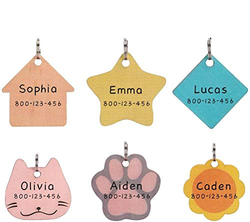 Dog ID Tags - 6 Pcs Name Tag for Dogs - Cute Handwriting Wooden Pet ID Tags - Lightweight Tag No Noise Pendant in Kitty, Star, Paw, Flower and House Shapes, Personalized Pet Charms for Dogs and Cats
