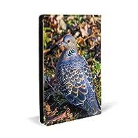 ブックカバー A5文庫カバー レザー皮革製カバー 目がオレンジ色の鳩柄印刷 おしゃれ ファイル 資料 収納入れ オフィス用品