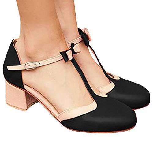 2019 Verano Primavera Zapato De Tacón Ancho, Mujer Bailarinas De Fiesta Sandalias Romanas De Vestir Zapatillas Bombas Zapatos De Talla Grande 35-43 EU